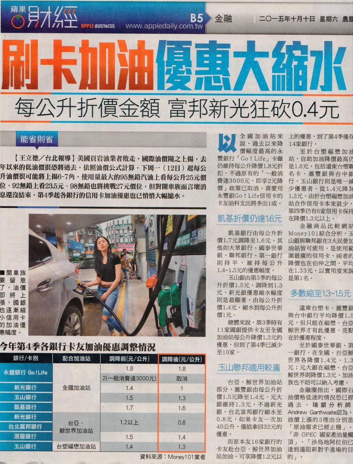 【蘋果日報】刷卡加油 優惠大縮水