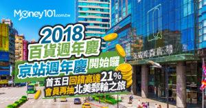 【2018百貨週年慶】京站週年慶開跑 首五日滿額回饋高達21% 會員再抽北美郵輪之旅