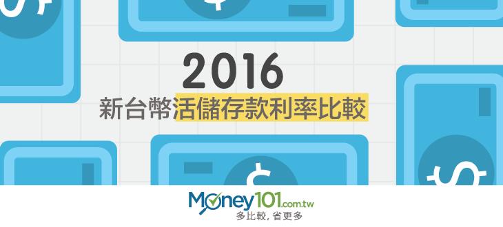 【2016新台幣活儲存款利率比較】